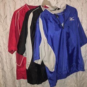 3 Mizuno pullover dri-fits windbreakers